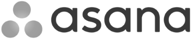 Black and white logo for Asana
