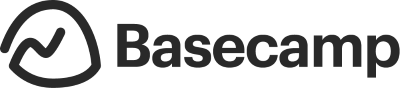 Black and white logo for Basecamp